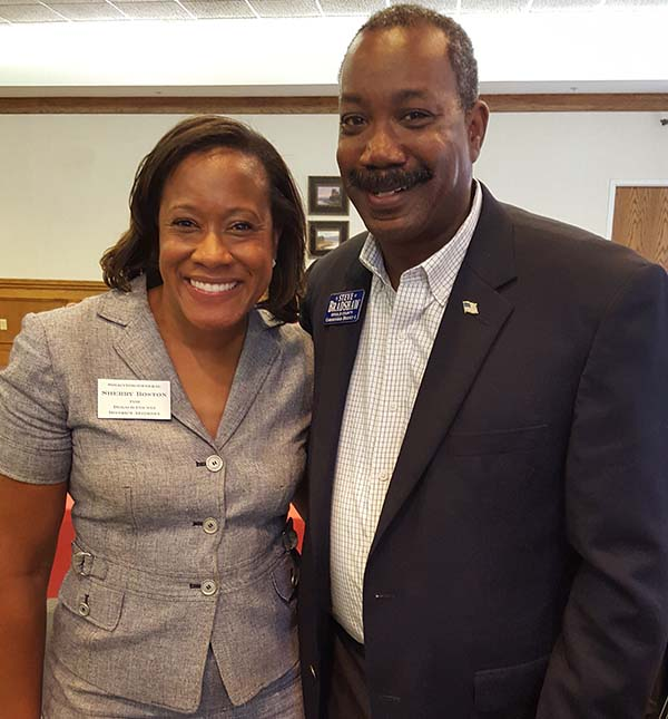 Image of Steve Bradshaw with candidate for DeKalb District Attorney Sherry Boston